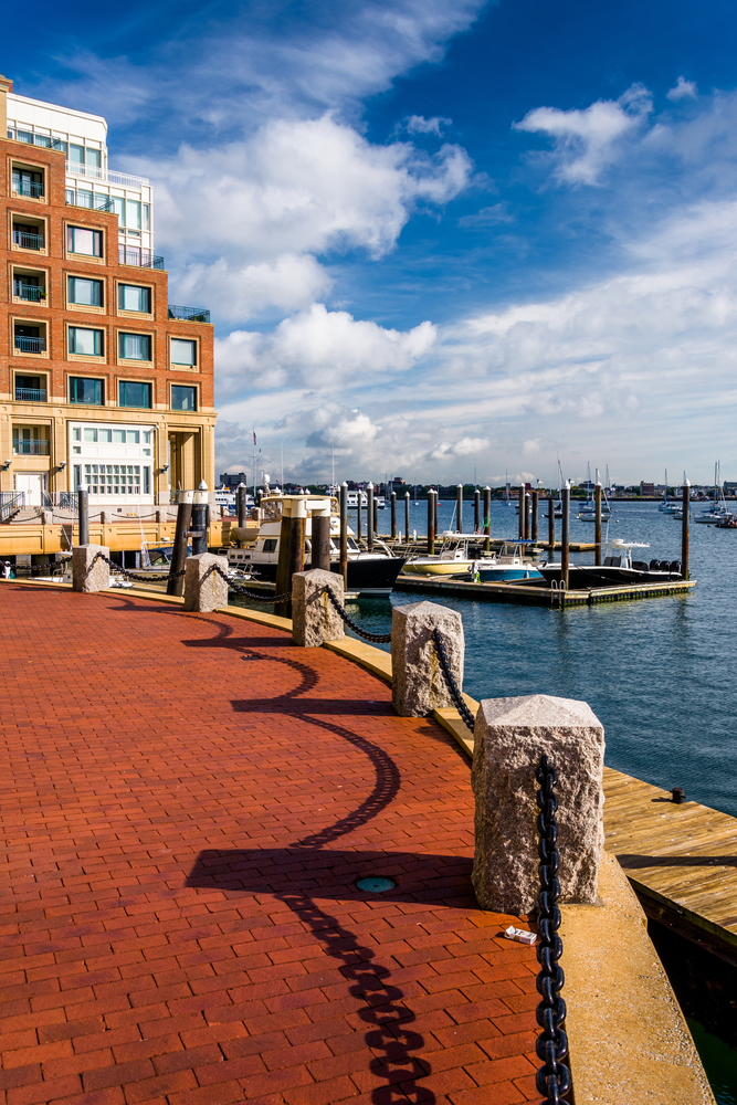 Along the waterfront at Rowes Wharf, in Boston, Massachusetts.