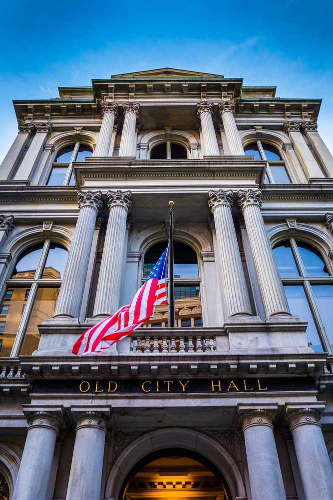 Looking up at Old City Hall in Boston, Massachusetts.