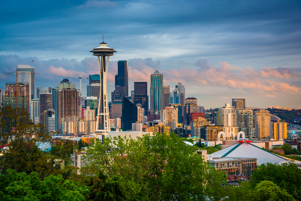 Sunset view of the Seattle skyline from Kerry Park, in Seattle, Washington.-1