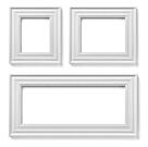 collection of various white wood frames on white background. each one is shot separately
