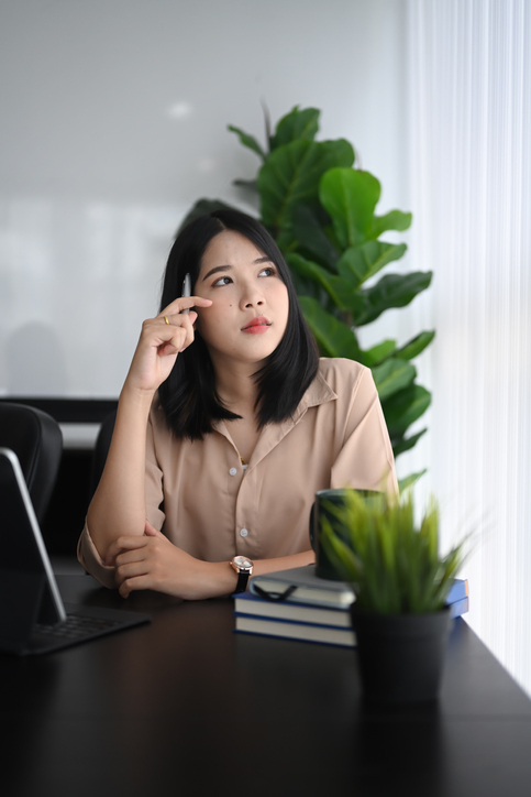 professional woman thinking about career